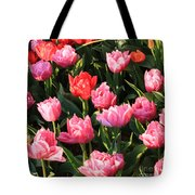 Pink And Red Ruffly Tulips Square Tote Bag