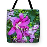 Pink And Sassy...line Art Tote Bag