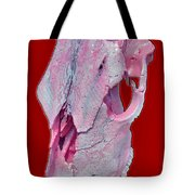 Pink And White Breast Cancer Awareness Cow Skull Tote Bag