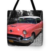 Pink And White Cuban Taxi Tote Bag