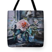Pink And White Roses In Silver Mug Tote Bag