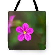 Pink And Yellow Flowers With Green Blurry Background Tote Bag
