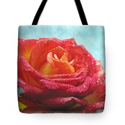 Pink And Yellow Rose With Dew II  Tote Bag