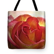 Pink And Yellow Rose With Water Drops Tote Bag