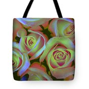 Pink And Yellow Roses Pop Art Tote Bag