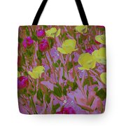 Pink And Yellow Tulips Pop Art Tote Bag