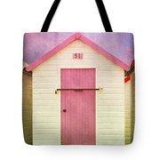 Pink Beach Hut Tote Bag
