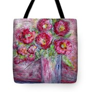 Pink Beauties In A Blue Crystal Vase Tote Bag