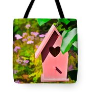 Pink Heart Birdhouse Tote Bag