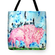 Pink Bison And Black Cats Tote Bag