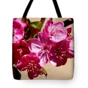 Bee Flying Pink Blossoms 031015a Tote Bag