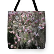 Pink Blossoms And Gray Moss Tote Bag