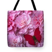 Pink Camilla's And Red Butterfly Tote Bag