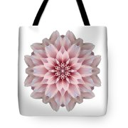 Pink Dahlia I Flower Mandala White Tote Bag