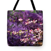 Pink Dogwood With Purple Azaleas Tote Bag