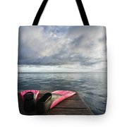 Pink Fins On Dock Tote Bag
