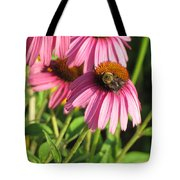 Pink Flower And Bee Tote Bag