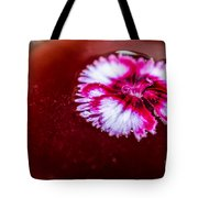 Pink Flower In Red Wine Cocktail Tote Bag