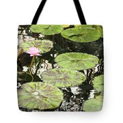 One Pink Water Lily With Lily Pads Tote Bag