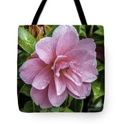 Pink Flower With Rain Drops Tote Bag