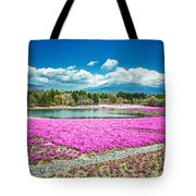Pink Flowers Blue Sky Tote Bag