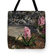 Pink Flower's With A Lime Stone Rock Tote Bag