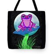 Pink Frog And Blue Moon Tote Bag