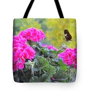 Pink Geraniums And Butterfly Tote Bag