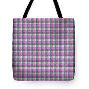 Pink Green And White Plaid Pattern Cloth Background Tote Bag