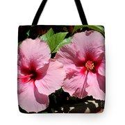 Pink Hibiscus Blooms Tote Bag