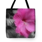 Pink Hibiscus In Partial Color Tote Bag