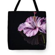 Pink Hibiscus On Black Water Tote Bag