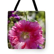 Pink Hollyhock Tote Bag