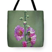 Pink Hollyhocks Tote Bag
