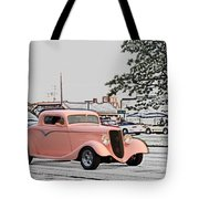 Pink Hot Rod Cruising Woodward Avenue Dream Cruise Selective Coloring Tote Bag