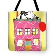 Pink House Tote Bag by Linda Woods