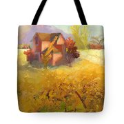 Pink House Yellow Field Tote Bag