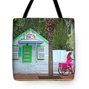 Pink Lady And The Conch Shop  Tote Bag by Rebecca Korpita