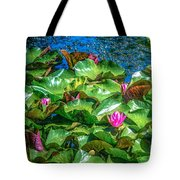 Pink Lilly Flowers And Pads Tote Bag
