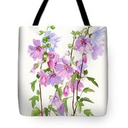 Pink Mallow Flowers Tote Bag