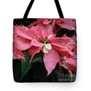 Pink Marble Poinsettia Tote Bag