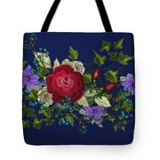 Pink Metallic Rose On Blue Tote Bag