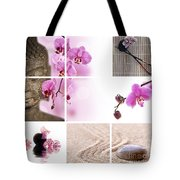 Pink Orchid And Buddha Collage Tote Bag