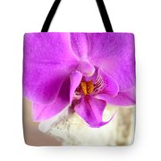 Pink Orchid On White Colored Driftwood Tote Bag by Sabine Jacobs