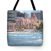 Pink Palace On Waikiki Beach Tote Bag