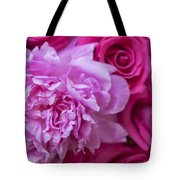Pink Peonies And Pink Roses Tote Bag