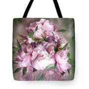 Pink Peonies Bouquet - Square Tote Bag