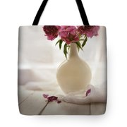 Pink Peonies In A Pot On The Wooden Table Tote Bag