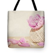 Pink Peony And The Thread Ball Tote Bag