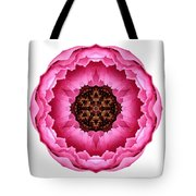 Pink Peony I Flower Mandala White Tote Bag